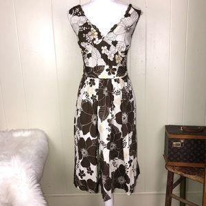 Mac & Jac floral wood beaded trim dress NWOT M